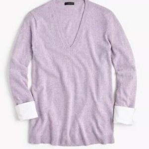 J. Crew V-Neck Sweater W/Shirt Cuffs XS